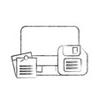 computer floppy disk and notes memo office vector image vector image