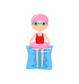 cute animated character with pink inflatable ring vector image