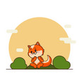 cute litttle red fox in cartoon style vector image