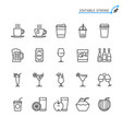 drinks line icons editable stroke vector image vector image