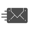 envelope sending solid icon mail vector image vector image
