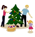 Family decorate Christmas tree vector image vector image