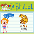 Flashcard alphabet G is for giraffe vector image