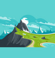 flat man on nature mountain background with sun vector image vector image