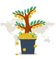 flat money tree vector image vector image