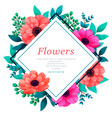 floral frame tropical flowers trendy template vector image