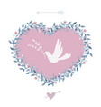 flower heart with bird vintage design elements vector image vector image