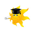 Funny cartoon sun wearing graduation cap vector image vector image
