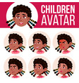 girl avatar set kid black afro american vector image vector image