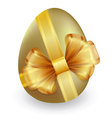 gold easter egg tied with ribbon and bow vector image vector image