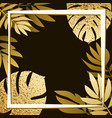 golden tropical leaves on the dark background vector image vector image