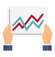 graph in hands icon flat style vector image vector image