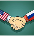 handshake of two people policy between the usa vector image