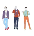 Handsome young guys men models in casual modern vector image vector image