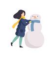 happy girl making snowman winter time activities vector image