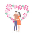 heart banner spring flowers and students in love vector image vector image