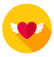 heart with wings circle icon vector image vector image