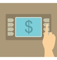 Human Hand presses keys of the ATM vector image vector image