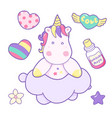 kawaii cute unicorn head face on the cloud pastel vector image vector image