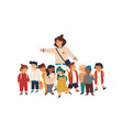 kindergarten tutor and pupils flat vector image vector image