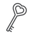 love key line icon love and lock heart key sign vector image vector image