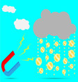 Magnet rain money vector image