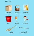 Many words begin with letter P vector image vector image