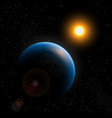 planet earth sun and stars in space vector image