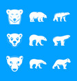 polar bear baby white icons set simple style vector image vector image