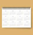 Realistic calendar Calendar template in Spanish vector image vector image