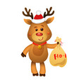 santa s reindeer rudolph and santa s gifts vector image vector image