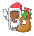santa with gift the delicious on chocolate milk vector image