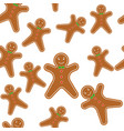 seamless pattern gingerbread man vector image