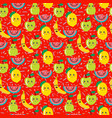 seamless pattern of colorful cute fruit kawaii vector image vector image