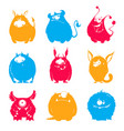set cartoon fluffy monsters vector image vector image
