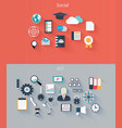 set flat icons for web and mobile devices vector image vector image