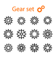 Set of machine gears or cogwheels Gear wheels vector image