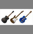 set realistic guitars vector image