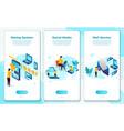 set social media concept rating mail system vector image