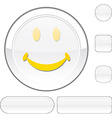 Smiley white button vector image