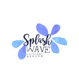 splash wave logo design aqua blue label abstract vector image