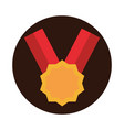 sport medal ribbon award victory block flat icon vector image
