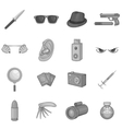 Spy and security icons set black monochrome style vector image vector image