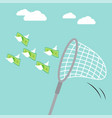 sweep net catching flying money vector image vector image