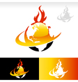 Swoosh Fire Earth Logo Icon vector image vector image