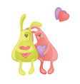 two lovely cartoon rabbits couple of hugging vector image