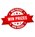 win prizes ribbon win prizes round red sign win vector image vector image