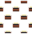 wine bottles in a wooden crate pattern flat vector image vector image