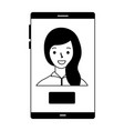 woman on screen mobile button vector image vector image