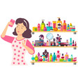 woman with many cosmetics concealer and lipstick vector image